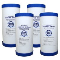 Four 4.5 x 10 Inch Melt Blown (5 Micron) Water Filter Cartridges