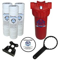 Hot Water Filter System, 3 High Temperature Cartridges, 1 Inch NPT