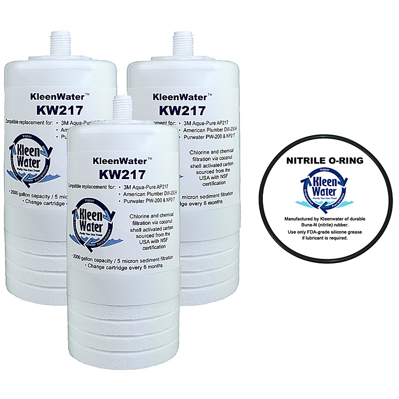 Three Aqua-Pure AP200 / AP217 Compatible Water Filters with one O-Ring - Click Image to Close